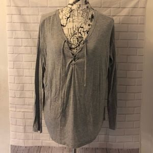 🔴VS PINK gray long sleeve corset tie shirt top